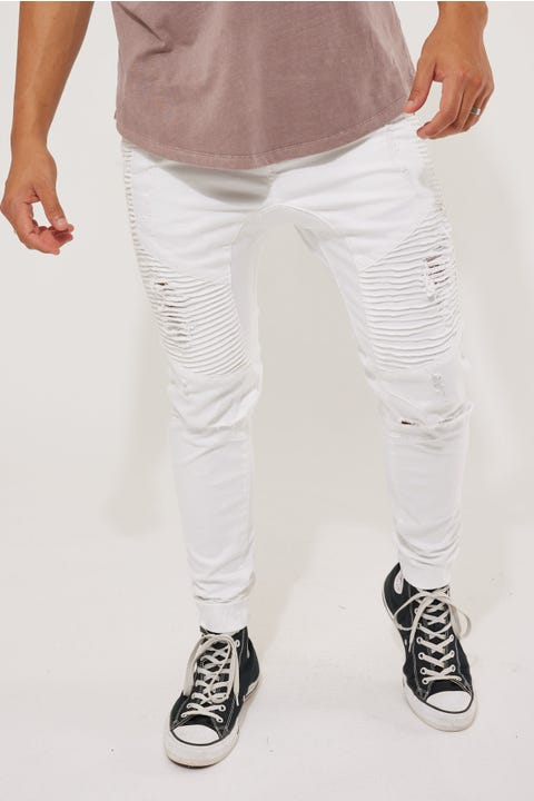 Kiss Chacey Zeppelin Denim Jogger White