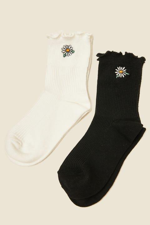 Token Daisy Dion Sock 2-Pack Black/White