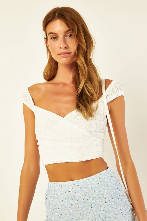PERFECT STRANGER Flores Broidery Crop Top White