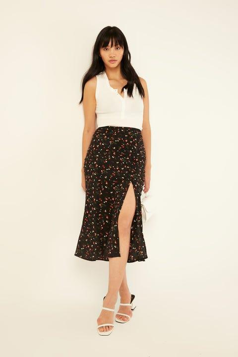 Luck & Trouble Camille Midi Skirt Black Print