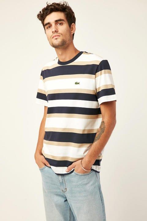 LACOSTE Golden Week Stripe T-Shirt White/Viennese