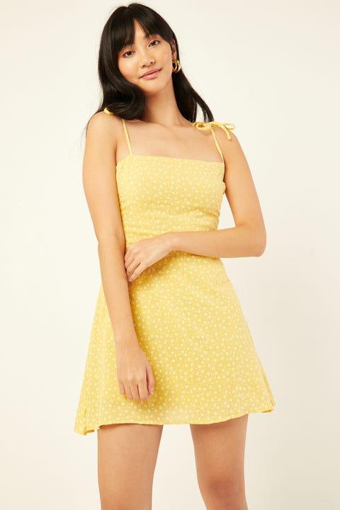 PERFECT STRANGER Golden Days Dress Yellow Print