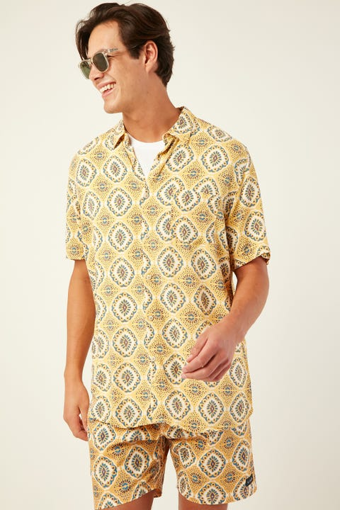 BARNEY COOLS Holiday SS Shirt Boho Yellow