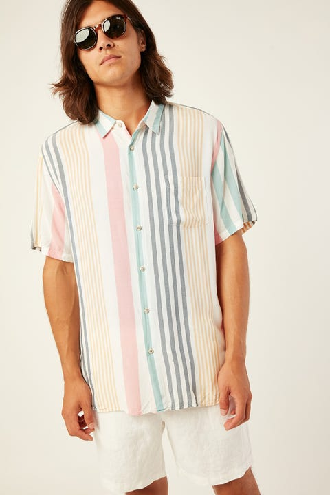 BARNEY COOLS Holiday SS Shirt Candy Stripe