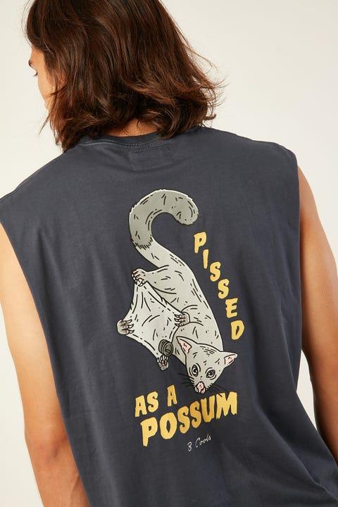 BARNEY COOLS Possum Muscle Tee Slate
