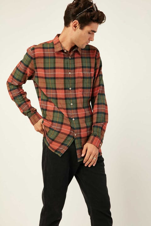 Barney Cools Cabin LS Shirt Woodland Plaid