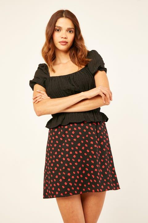 PERFECT STRANGER Arcadia Mini Skirt Black Print
