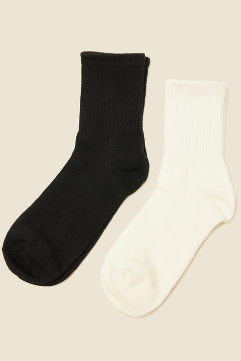 Token Solid Colour Sock 2PK White/Black