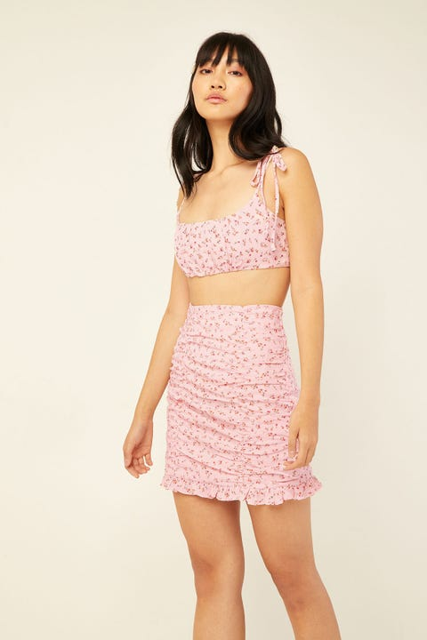 LUCK & TROUBLE Lullaby Floral Skirt Pink Print