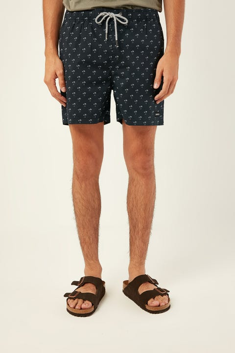 COMMON NEED Mini Palm Swim Short Navy White Print