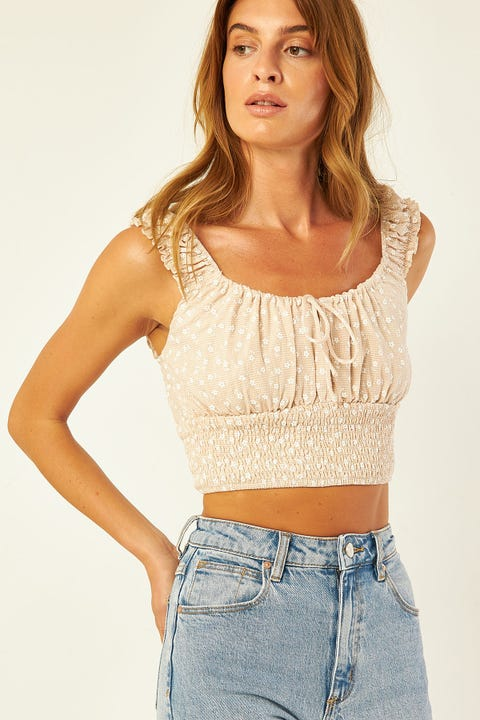 LUCK & TROUBLE Gypsy Floral Top Cream Print