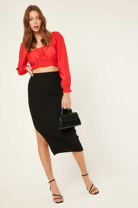 LUCK & TROUBLE Knitted Midi Skirt Black