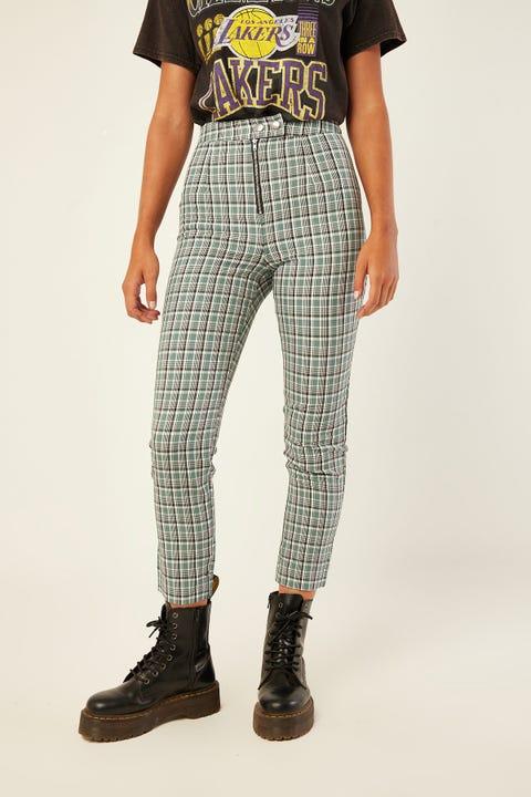 LUCK & TROUBLE Dalton Check Pant Green Print