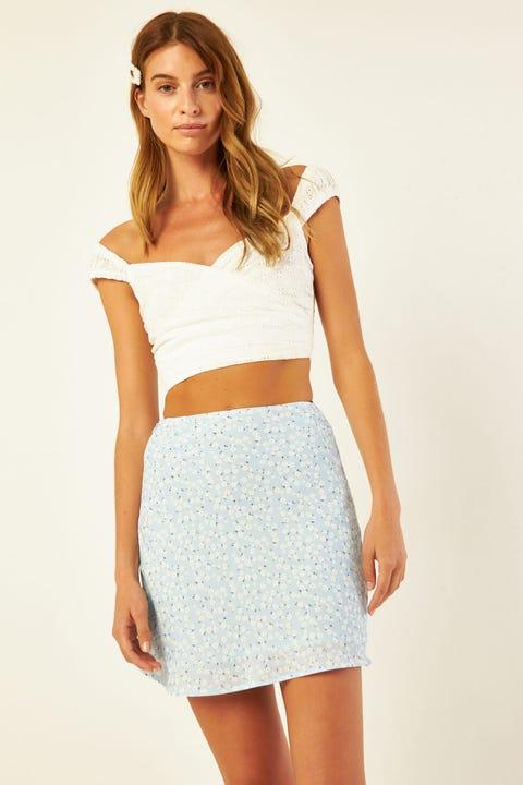 Perfect Stranger Flores Floral Skirt Blue Print