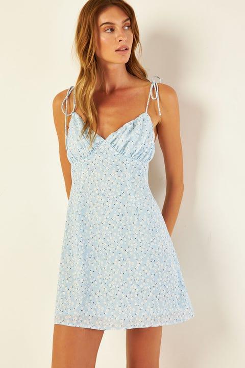 PERFECT STRANGER Flores Floral Mini Dress Blue Print