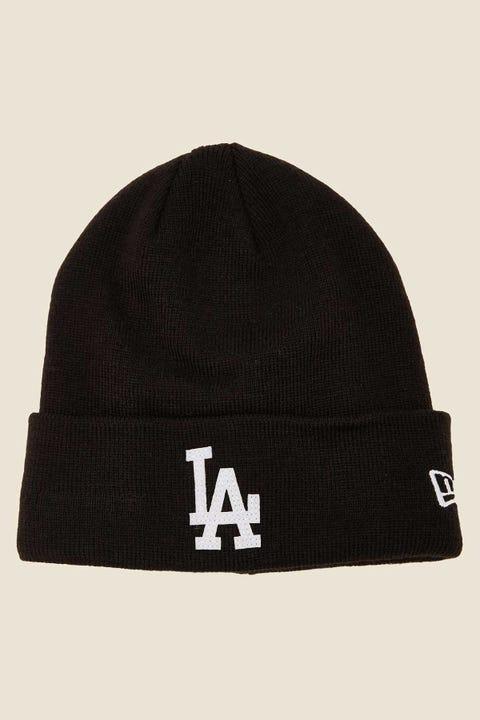 NEW ERA LA Dodgers Felt Patch Knit Beanie Black/White