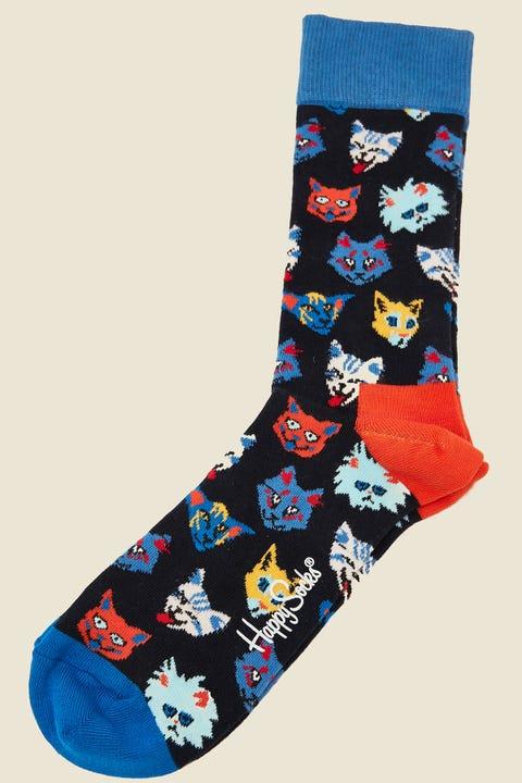 HAPPY SOCKS Funny Cat Sock Navy/Multi