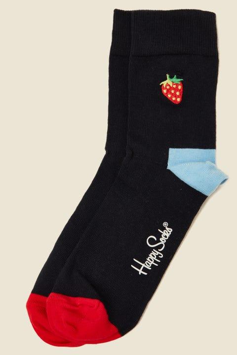 HAPPY SOCKS Embroidery Strawberry 1/2 Crew Sock Black