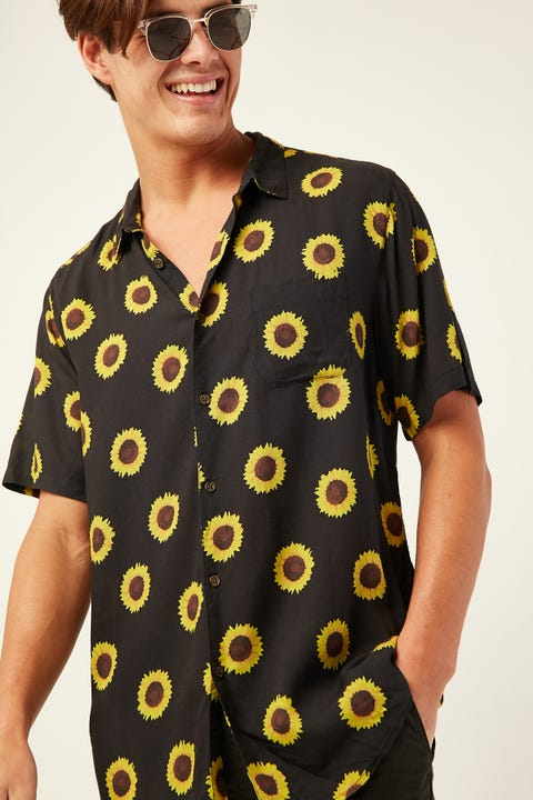 COMMON NEED Sunflower Party Shirt Black