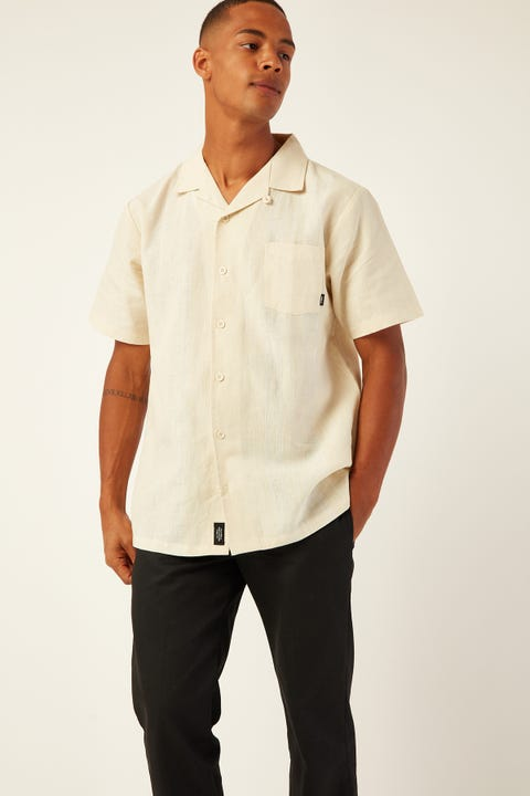 THRILLS Born In Paradise Bowling Shirt Thrift White