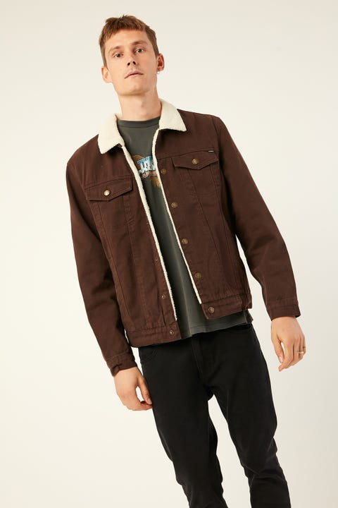 THRILLS Sherpa Wanderer Denim Jacket Postal Brown