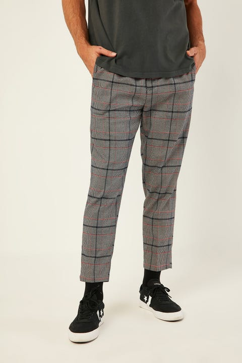 COMMON NEED York Pleat Front Crop Pant Navy/Red Check