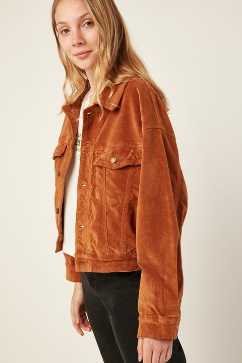 THRILLS Sueded Jessie Jacket Mustang Brown