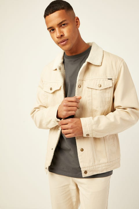 THRILLS Sherpa Wanderer Denim Jacket Bone