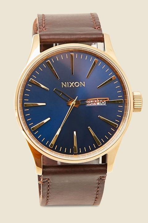 NIXON Sentry Leather Polished Gold/Navy Sunray/Tan
