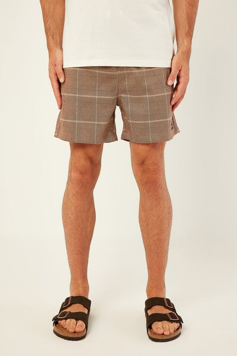 COMMON NEED Brighton Short Brown/Red Check