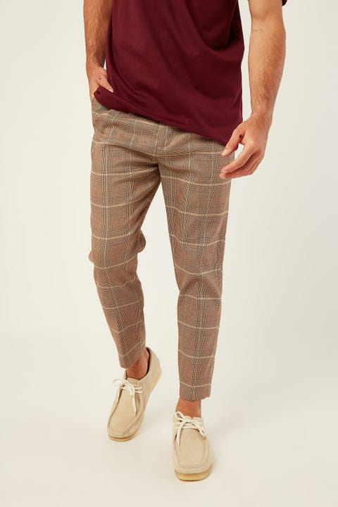 COMMON NEED York Pleat Front Crop Pant Brown/Red Check