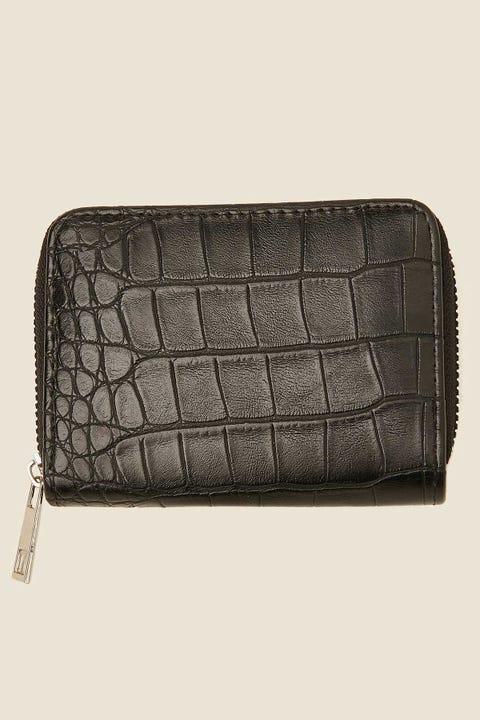 TOKEN Croc Mini Zip Around Wallet Black