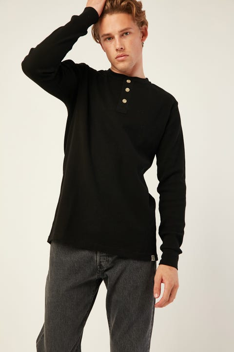 Academy Brand Sycamore LS Henley Black