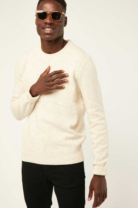 THE ACADEMY BRAND Shoreditch Crew Knit Natural Fleck