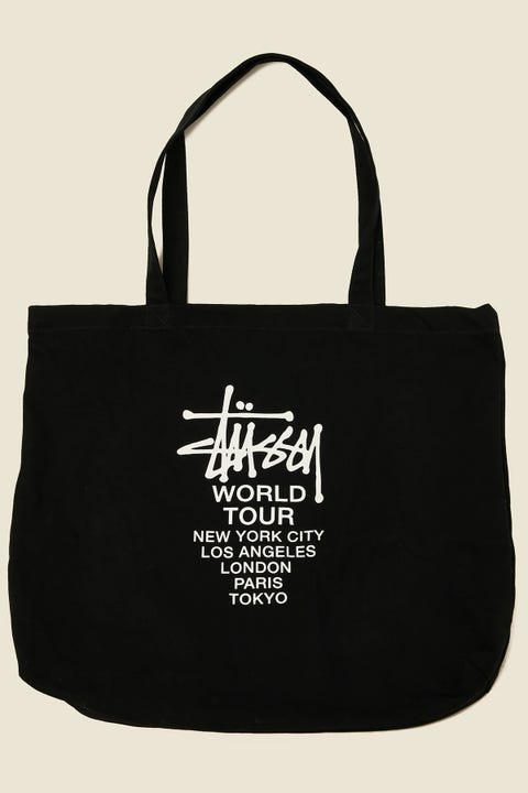 Stussy Graffiti World Tour OS Tote Bag Black