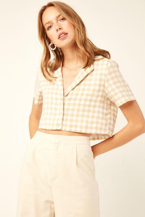 PERFECT STRANGER Check Crop Resort Shirt Yellow Print