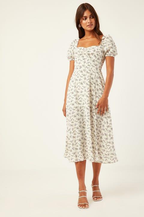 PERFECT STRANGER Florette Midi Dress Cream Print