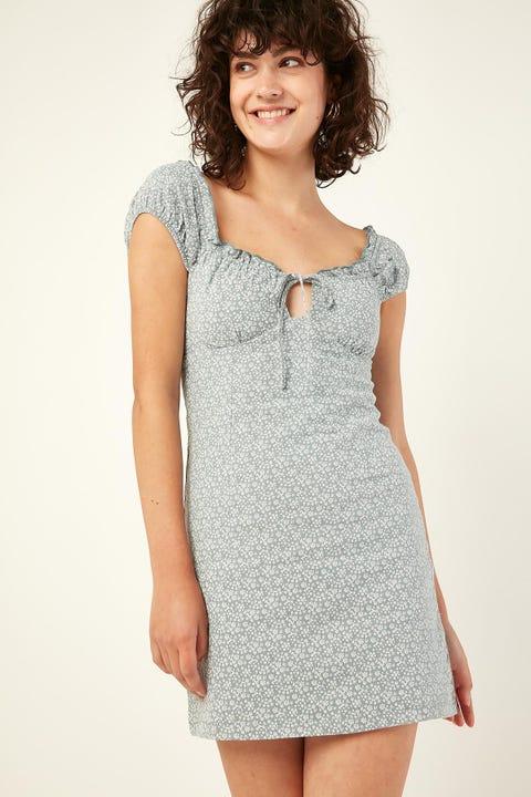 PERFECT STRANGER Santa Monica Mini Dress Teal Print