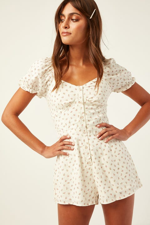 LUCK & TROUBLE Sweet Roses Playsuit White Print