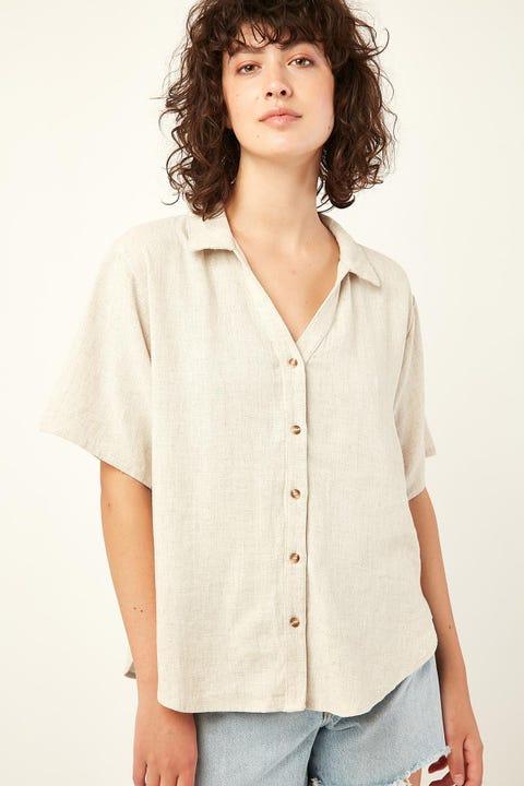 PERFECT STRANGER Free Living Linen Shirt Oatmeal