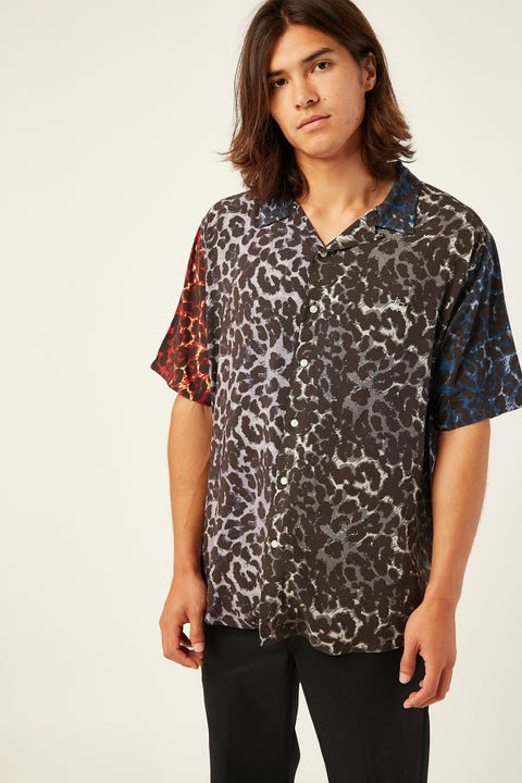 STUSSY Leopard Panel SS Shirt Multi