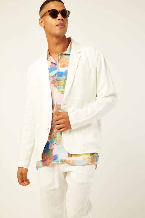 BARNEY COOLS Poolside Jacket White Linen