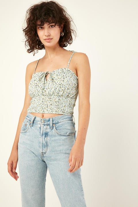 Perfect Stranger With You Crop Top Blue Print