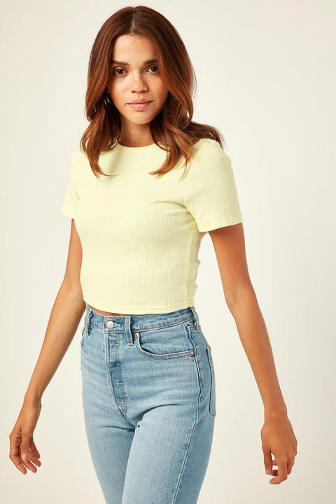 L&T Elle Cropped Tee Top Yellow
