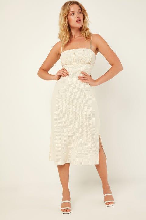 PERFECT STRANGER Endless Summer Midi Dress White Print