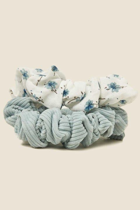 TOKEN Large Scrunchie 2PK Blue Floral & Blue Cord