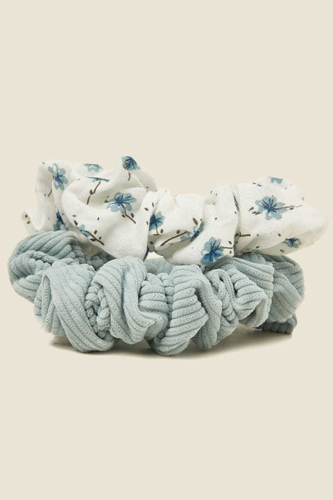 TOKEN Large Scrunchie 2PK Blue Floral & Blue Cord