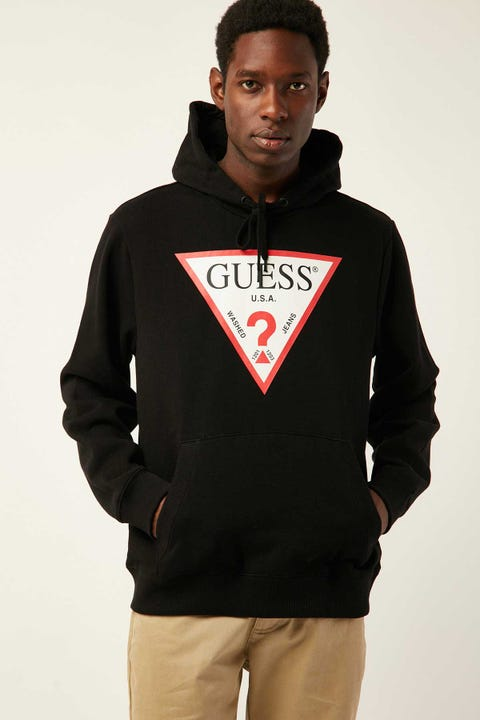 GUESS ORIGINALS LS Eco Roy Triangle Logo Hoody Black