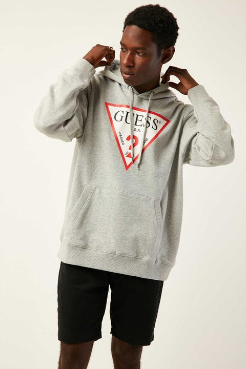 GUESS ORIGINALS LS Eco Roy Triangle Logo Hoody Grey Feather Marle