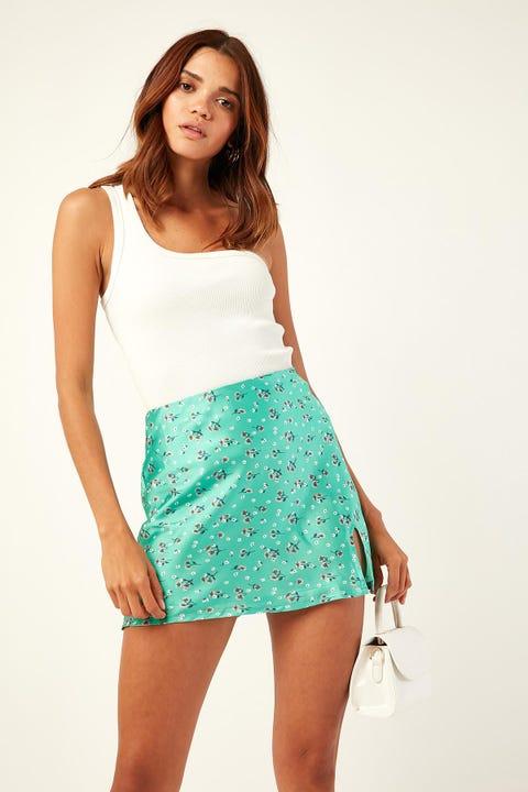 Luck & Trouble Charlie Slip Mini Skirt Green Print